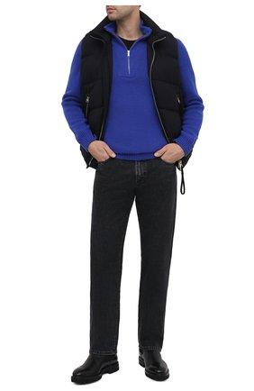 Мужской шерстяной свитер DANIELE FIESOLI синего цвета, арт. DF 5091 | Фото 2 (Материал внешний: Шерсть; Длина (для топов): Стандартные; Рукава: Длинные; Принт: Без принта; Стили: Кэжуэл)