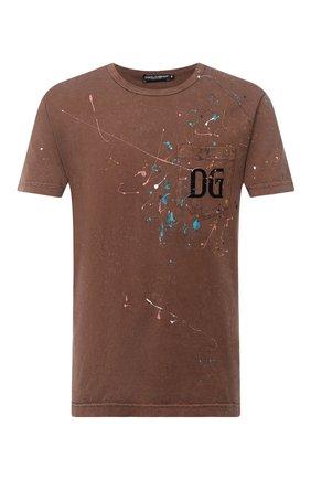 Мужская хлопковая футболка DOLCE & GABBANA коричневого цвета, арт. G8LW3T/G7XSS | Фото 1