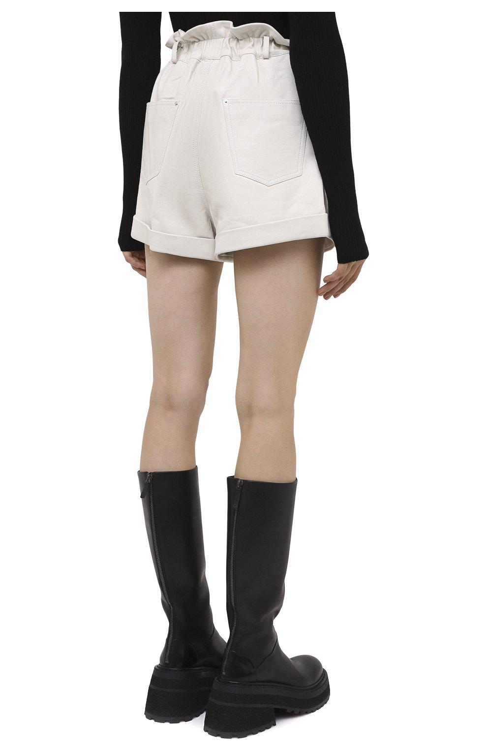 Женские кожаные шорты GRLFRND бежевого цвета, арт. GRF5 -S20   Фото 4 (Женское Кросс-КТ: Шорты-одежда; Длина Ж (юбки, платья, шорты): Мини; Материал внешний: Кожа; Материал подклада: Синтетический материал)