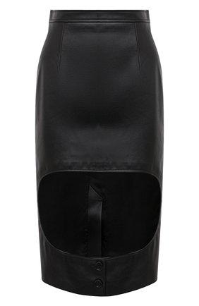 Женская кожаная юбка BURBERRY черного цвета, арт. 8031305 | Фото 1