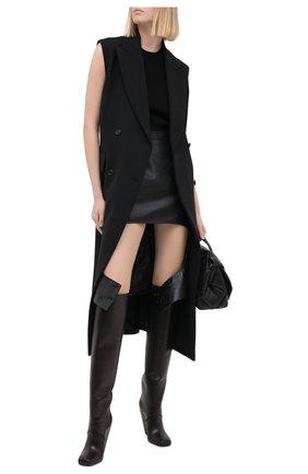 Женская кожаная юбка BURBERRY черного цвета, арт. 8031305 | Фото 2