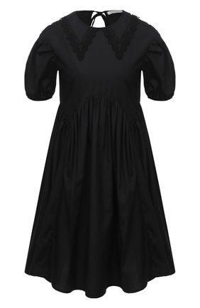 Женское хлопковое платье CECILIE BAHNSEN черного цвета, арт. PF20-0012 | Фото 1