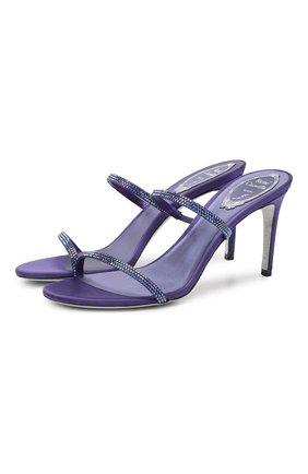 Женские текстильные мюли RENE CAOVILLA фиолетового цвета, арт. C10640-080-R001W224   Фото 1
