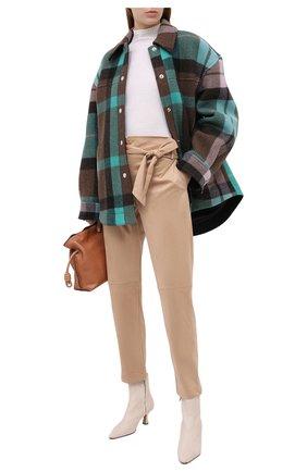 Женские брюки с поясом D.EXTERIOR бежевого цвета, арт. 51808   Фото 2