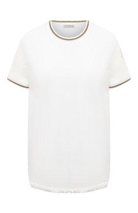 Женская хлопковая футболка MONCLER белого цвета, арт. F2-093-8C760-00-V8058 | Фото 1