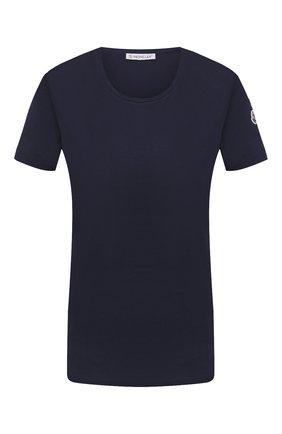 Женская хлопковая футболка MONCLER темно-синего цвета, арт. F2-093-8C732-00-V8058 | Фото 1