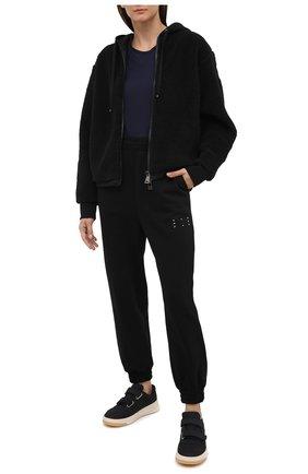 Женская хлопковая футболка MONCLER темно-синего цвета, арт. F2-093-8C732-00-V8058 | Фото 2