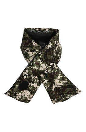 Женский пуховый шарф MONCLER хаки цвета, арт. F2-093-3C518-00-54AND | Фото 1