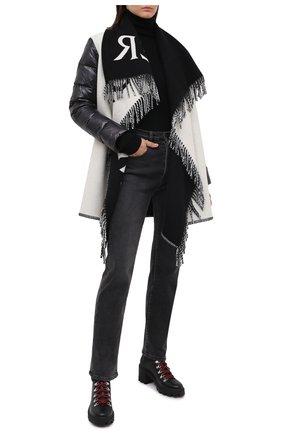Женская шерстяное пончо MONCLER черно-белого цвета, арт. F2-093-3G507-00-A0145 | Фото 2