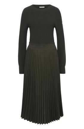 Женское шерстяное платье MONCLER хаки цвета, арт. F2-093-9I702-10-A9361 | Фото 1