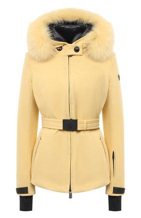 Женская пуховая куртка MONCLER желтого цвета, арт. F2-098-1A523-02-53063   Фото 1