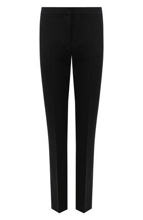 Женские брюки из шерсти и шелка ALEXANDER MCQUEEN черного цвета, арт. 589426/QJAAA   Фото 1 (Длина (брюки, джинсы): Удлиненные; Материал внешний: Шерсть; Женское Кросс-КТ: Брюки-одежда; Случай: Формальный)