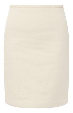 Женская хлопковая юбка SUBTERRANEI бежевого цвета, арт. I19subfw20-017   Фото 1