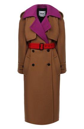 Женское шерстяное пальто MSGM коричневого цвета, арт. 2941MDC20Y 207521   Фото 1