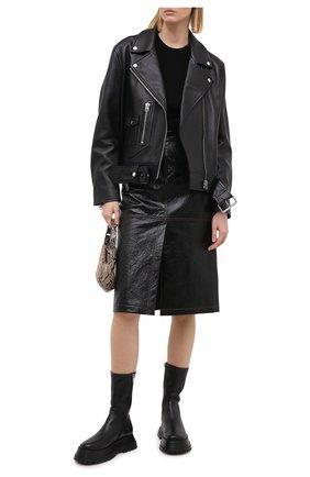 Женская юбка MSGM черного цвета, арт. 2941MDD22 207670 | Фото 2
