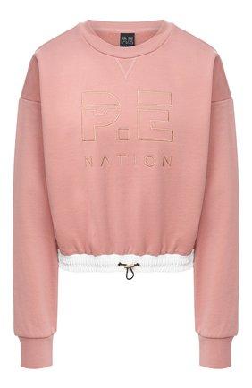 Женская хлопковый свитшот P.E. NATION розового цвета, арт. 20PE2F113 | Фото 1