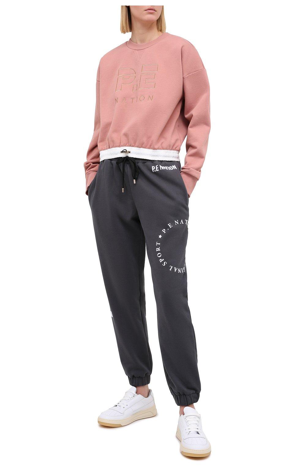 Женский хлопковый свитшот P.E. NATION розового цвета, арт. 20PE2F113 | Фото 2 (Рукава: Длинные; Кросс-КТ: Спорт; Длина (для топов): Стандартные; Женское Кросс-КТ: Свитшот-спорт; Материал внешний: Хлопок; Стили: Спорт-шик)
