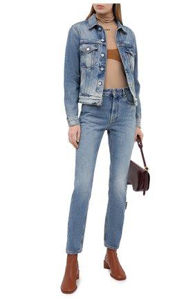 Женская джинсовая куртка OFF-WHITE голубого цвета, арт. 0WYE012E20DEN0024001 | Фото 2
