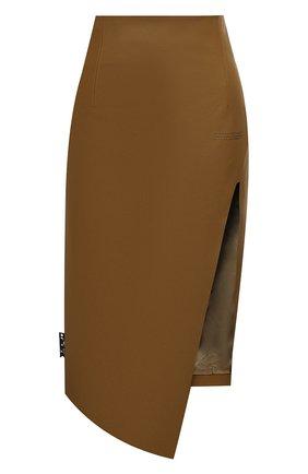 Женская кожаная юбка OFF-WHITE хаки цвета, арт. 0WJC006E20LEA0026300   Фото 1