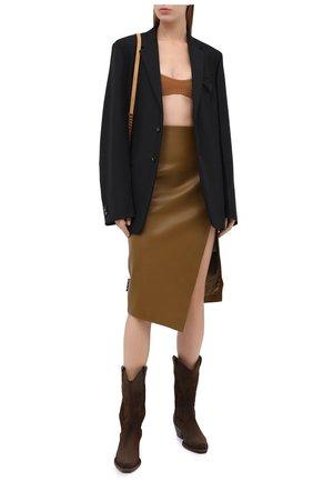 Женская кожаная юбка OFF-WHITE хаки цвета, арт. 0WJC006E20LEA0026300   Фото 2