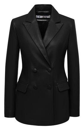 Женский кожаный жакет OFF-WHITE черного цвета, арт. 0WJA036E20LEA0011010 | Фото 1
