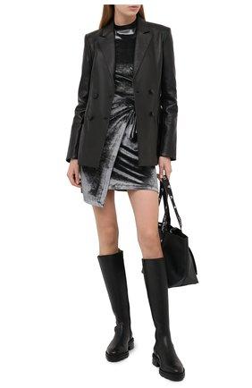 Женский кожаный жакет OFF-WHITE черного цвета, арт. 0WJA036E20LEA0011010 | Фото 2
