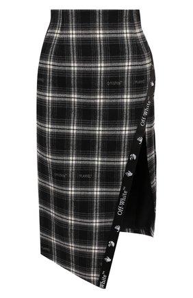 Женская хлопковая юбка OFF-WHITE черно-белого цвета, арт. 0WCC101E20FAB0021000   Фото 1