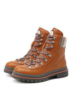 Детские кожаные ботинки BRUNELLO CUCINELLI коричневого цвета, арт. BFYMSZH110 | Фото 1