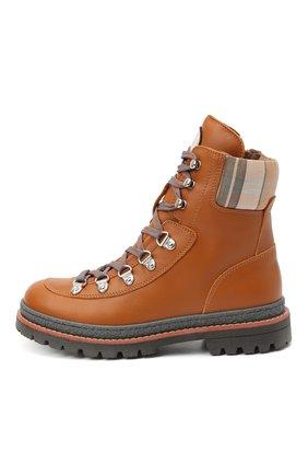 Детские кожаные ботинки BRUNELLO CUCINELLI коричневого цвета, арт. BFYMSZH110 | Фото 2
