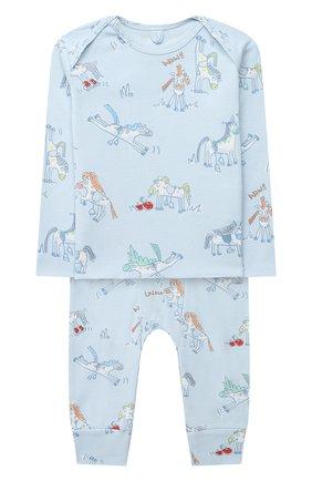 Детский комплект из лонгслива и брюк STELLA MCCARTNEY голубого цвета, арт. 601486/SPJ10 | Фото 1
