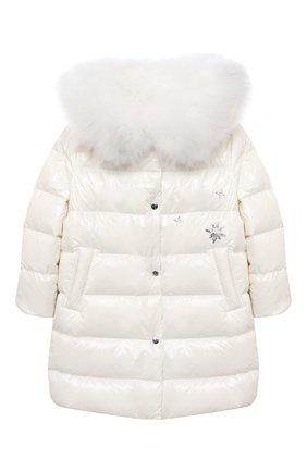 Детское пуховое пальто YVES SALOMON ENFANT белого цвета, арт. 21WEM011LGD0BR/8-10 | Фото 1