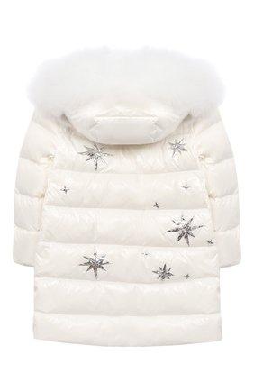Детское пуховое пальто YVES SALOMON ENFANT белого цвета, арт. 21WEM011LGD0BR/8-10 | Фото 2