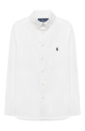 Детская хлопковая рубашка RALPH LAUREN белого цвета, арт. 323819238 | Фото 1