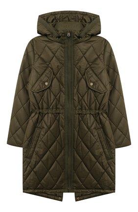 Детское стеганое пальто POLO RALPH LAUREN хаки цвета, арт. 313795694   Фото 1