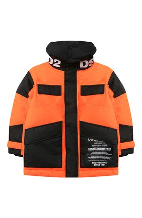 Детский пуховая куртка DSQUARED2 оранжевого цвета, арт. DQ046M-D00ZM | Фото 1