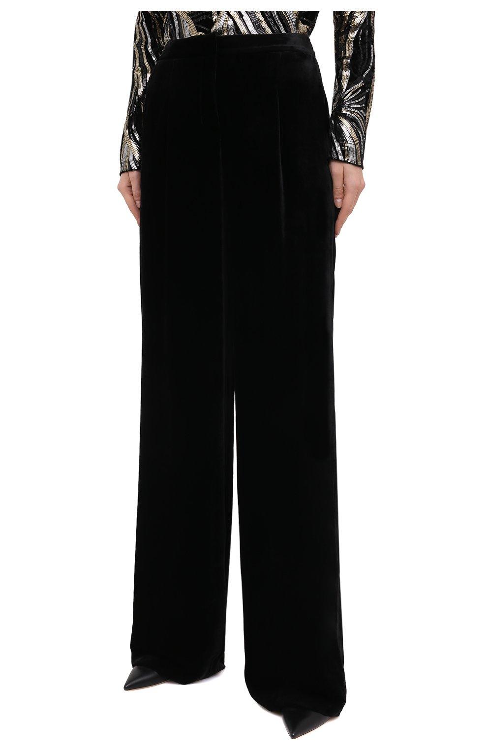 Женские брюки из вискозы и шелка ZUHAIR MURAD черного цвета, арт. TRP20340/VESB003   Фото 3 (Длина (брюки, джинсы): Удлиненные; Женское Кросс-КТ: Брюки-одежда; Силуэт Ж (брюки и джинсы): Прямые; Материал внешний: Вискоза; Стили: Романтичный)