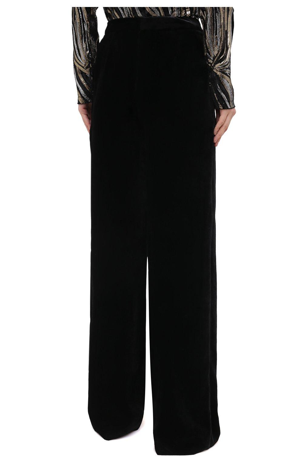 Женские брюки из вискозы и шелка ZUHAIR MURAD черного цвета, арт. TRP20340/VESB003   Фото 4 (Длина (брюки, джинсы): Удлиненные; Женское Кросс-КТ: Брюки-одежда; Силуэт Ж (брюки и джинсы): Прямые; Материал внешний: Вискоза; Стили: Романтичный)