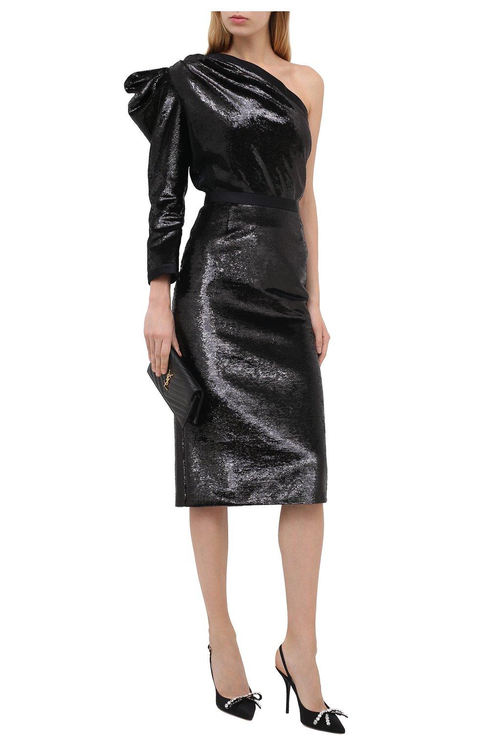 Женская юбка ZUHAIR MURAD черного цвета, арт. SKP20311/EMSE004 | Фото 2 (Женское Кросс-КТ: Юбка-карандаш, Юбка-одежда; Материал внешний: Синтетический материал; Длина Ж (юбки, платья, шорты): Миди; Стили: Романтичный; Материал подклада: Купро)