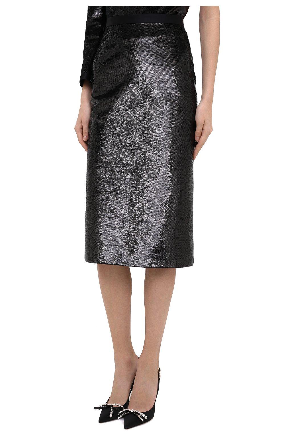 Женская юбка ZUHAIR MURAD черного цвета, арт. SKP20311/EMSE004 | Фото 3 (Женское Кросс-КТ: Юбка-карандаш, Юбка-одежда; Материал внешний: Синтетический материал; Длина Ж (юбки, платья, шорты): Миди; Стили: Романтичный; Материал подклада: Купро)