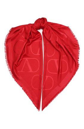 Женская шаль из шелка и шерсти VALENTINO красного цвета, арт. UW0EB104/AJB | Фото 1