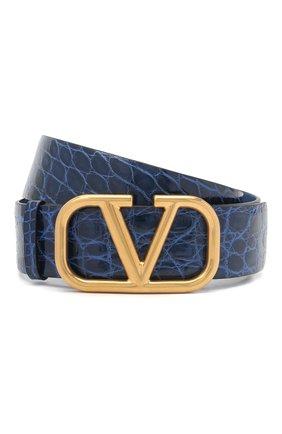 Женский кожаный ремень valentino garavani VALENTINO синего цвета, арт. UW2T0S11/QRL/AMIS   Фото 1