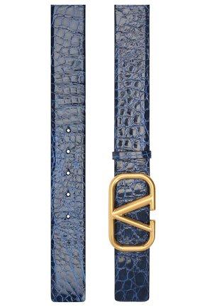 Женский кожаный ремень valentino garavani VALENTINO синего цвета, арт. UW2T0S11/QRL/AMIS   Фото 2