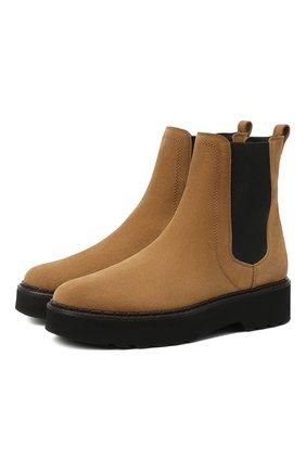 Женские комбинированные ботинки TOD'S светло-коричневого цвета, арт. XXW80C0DR70RE0 | Фото 1