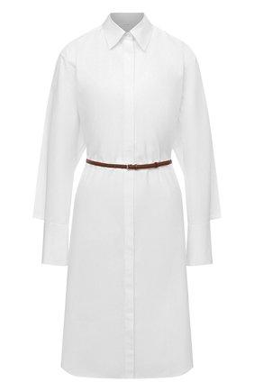 Женское хлопковое платье THE ROW белого цвета, арт. 4937W1625 | Фото 1 (Материал внешний: Хлопок; Рукава: Длинные; Женское Кросс-КТ: Платье-одежда, платье-рубашка; Случай: Повседневный; Стили: Кэжуэл; Длина Ж (юбки, платья, шорты): До колена)
