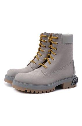 Женские кожаные ботинки VETEMENTS серого цвета, арт. UAH21B0240 2453/W | Фото 1