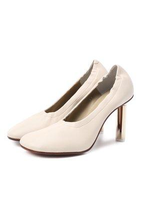 Женская кожаные туфли VETEMENTS бежевого цвета, арт. WAH21HE216 2463   Фото 1