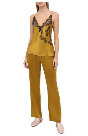 Женские шелковые брюки CARINE GILSON желтого цвета, арт. SD0541-E 2020 | Фото 2