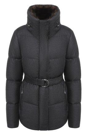 Женская куртка с меховой отделкой YVES SALOMON серого цвета, арт. 21WYV02465W02W | Фото 1
