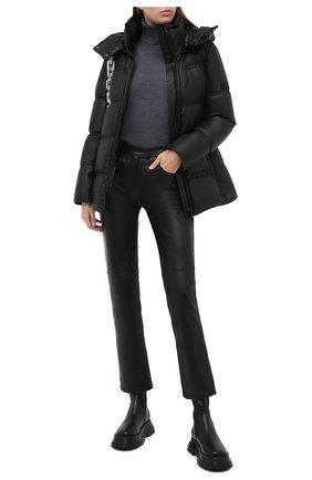 Женский кожаная пуховая куртка YS ARMY PARIS черного цвета, арт. 21WFV20168A24X | Фото 2