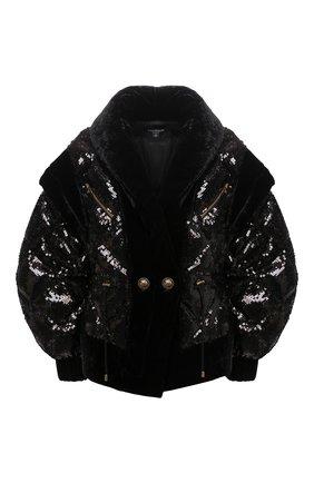 Женская куртка с пайетками BALMAIN черного цвета, арт. UF19502/X284 | Фото 1